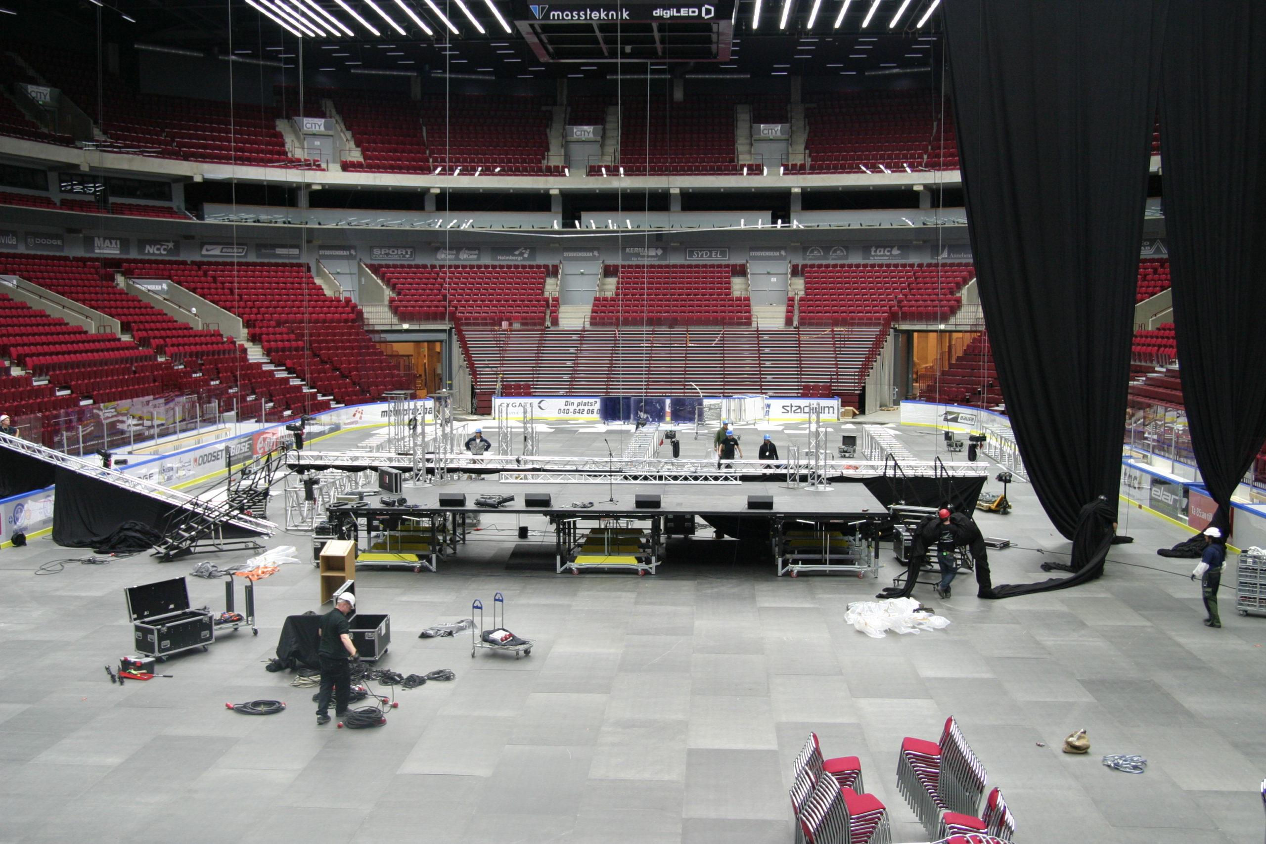 Scenbygge i Malmö arena