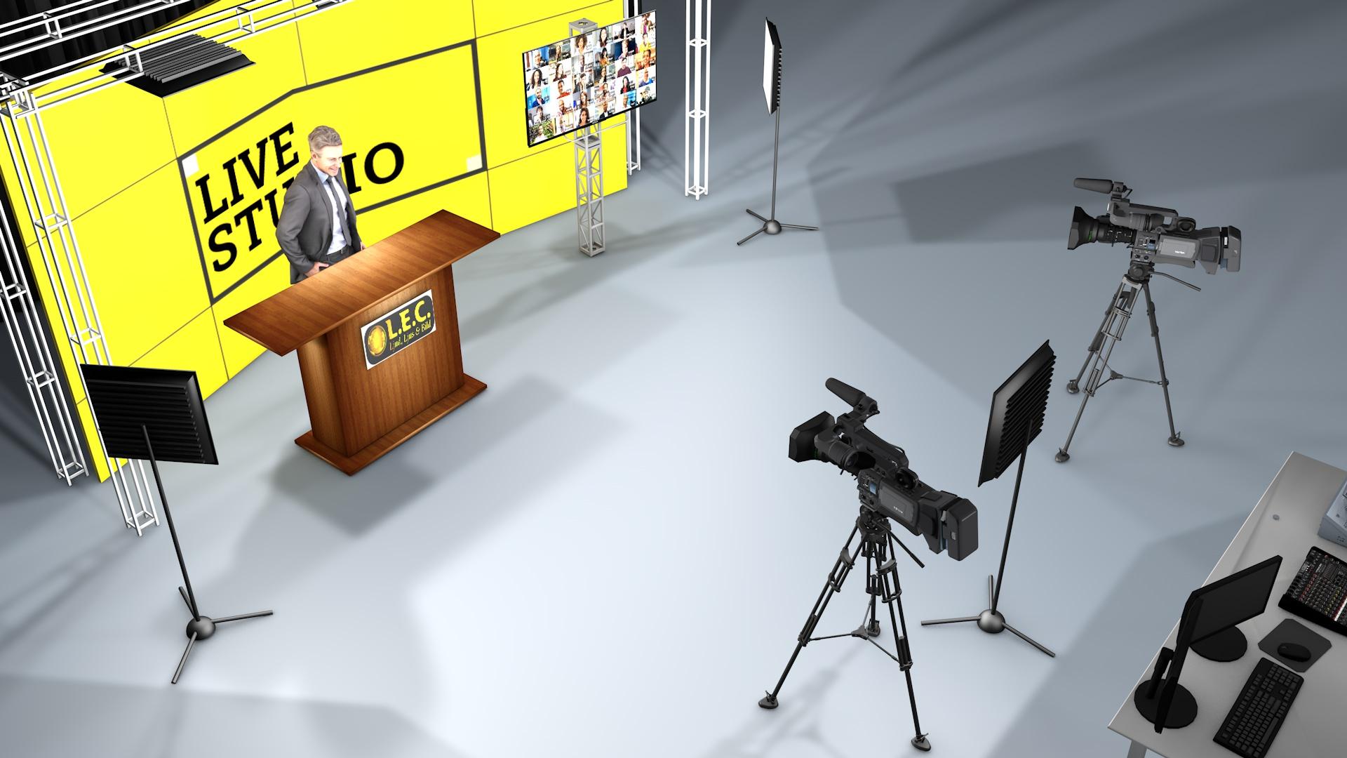 3D rendrering av streamingstudio